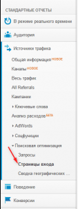 google analytics страницы входа